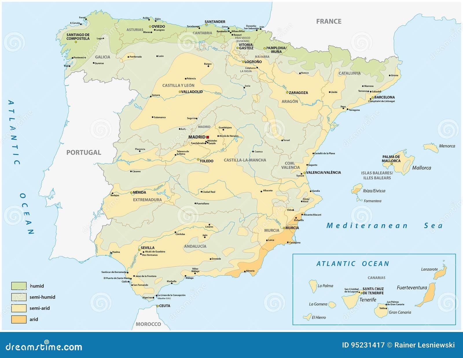 Översikt av våta - och - torra områden i Spanien