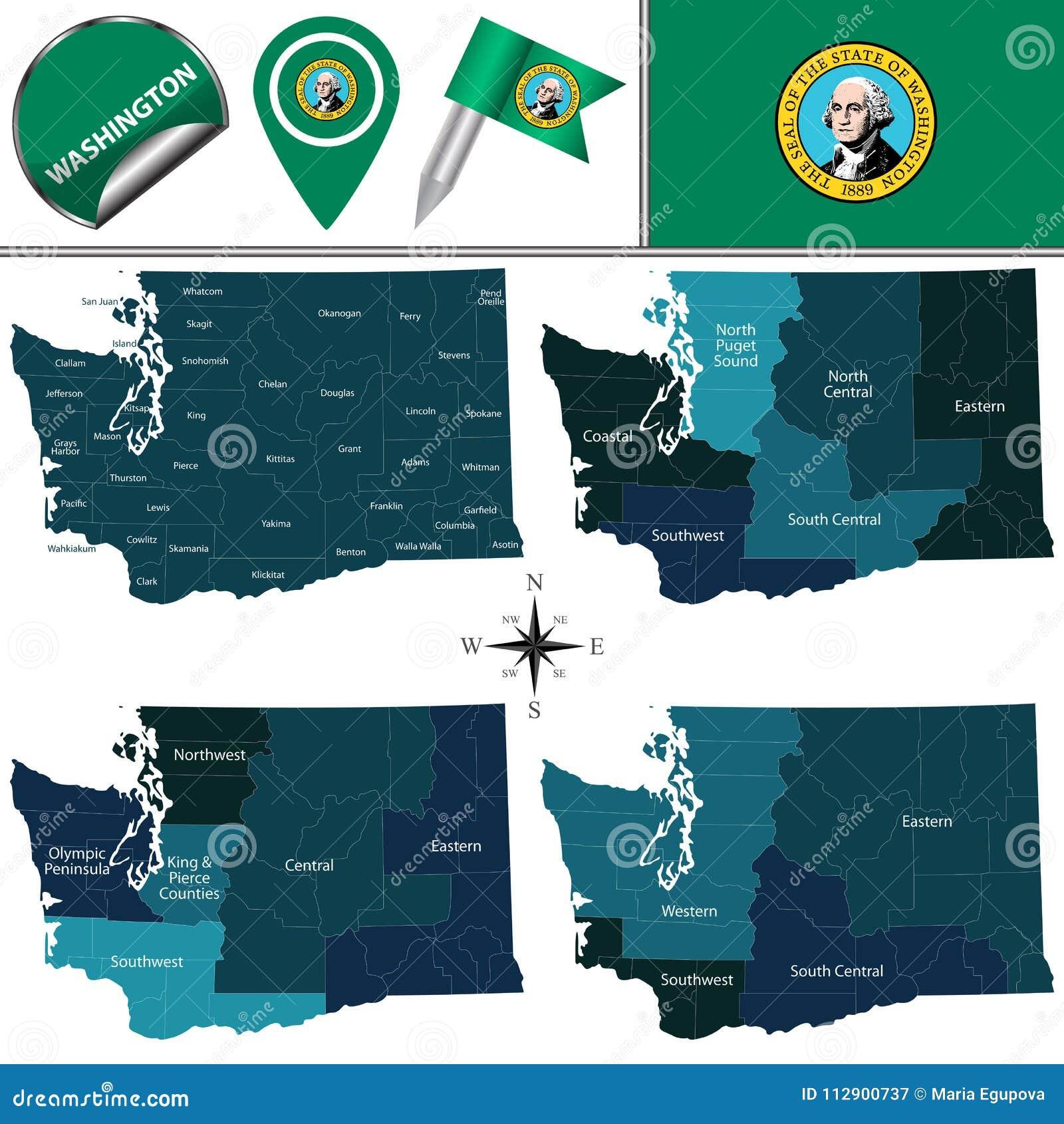Översikt av Washington med regioner