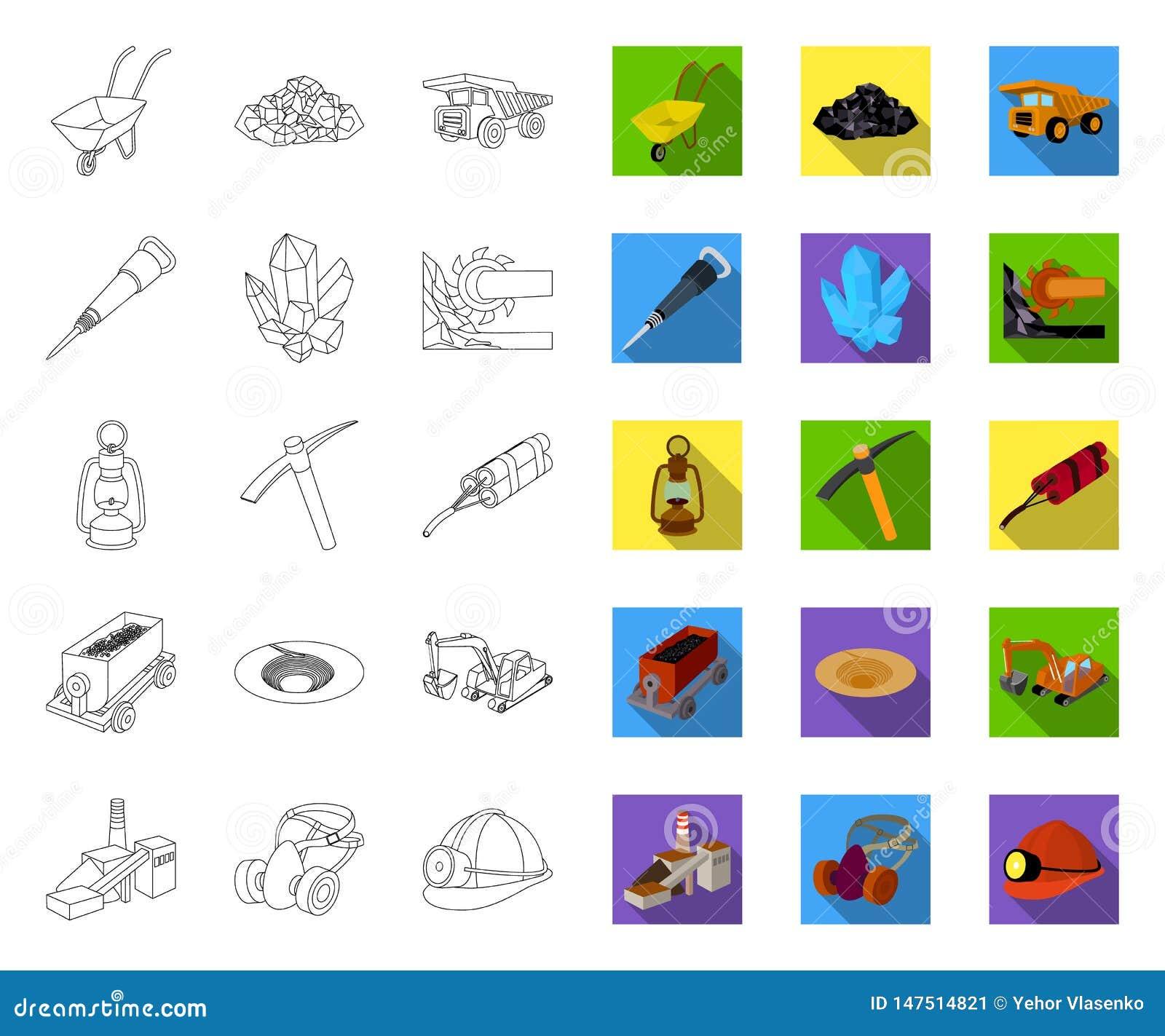 Översikt för bryta bransch, plana symboler i den fastställda samlingen för design Reng?ringsduk f?r materiel f?r utrustning- och