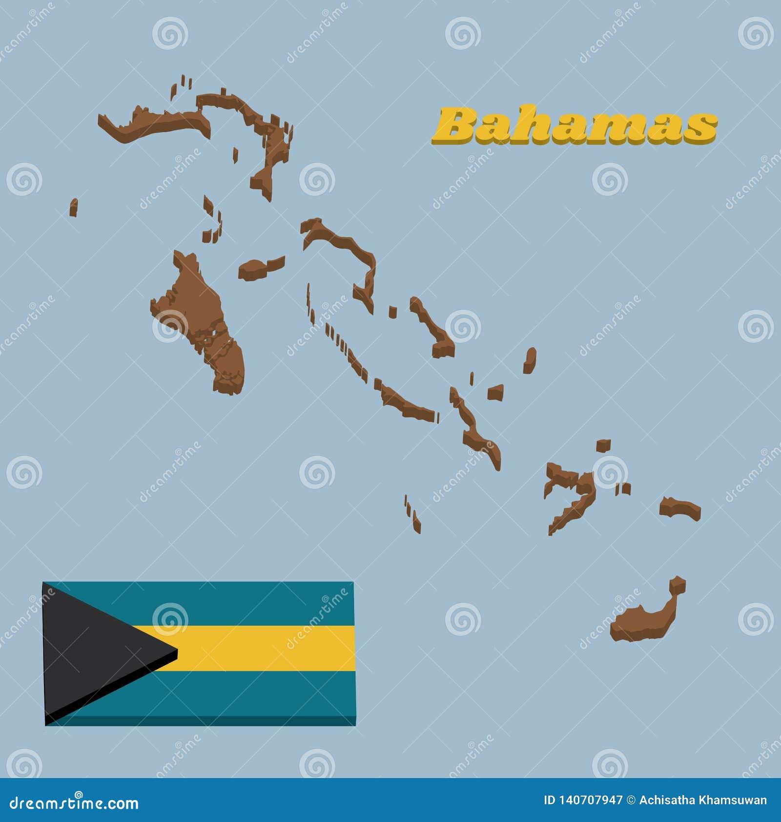 översikt för översikt 3D och flagga av Bahamas, en horisontaltriband av akvamarinöverkanten och botten och guld med den svarta sp