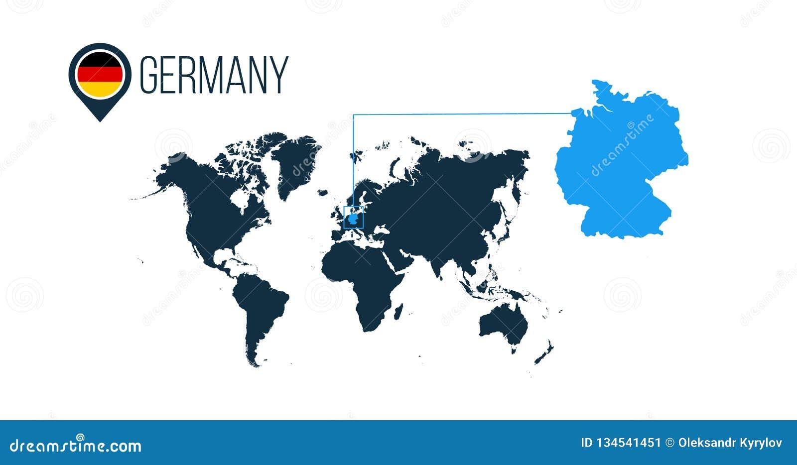 Översikt för vektor för Tysklandläge modern för infographics Alla världsländer utan namn Rund flagga för Tyskland i översiktsstif