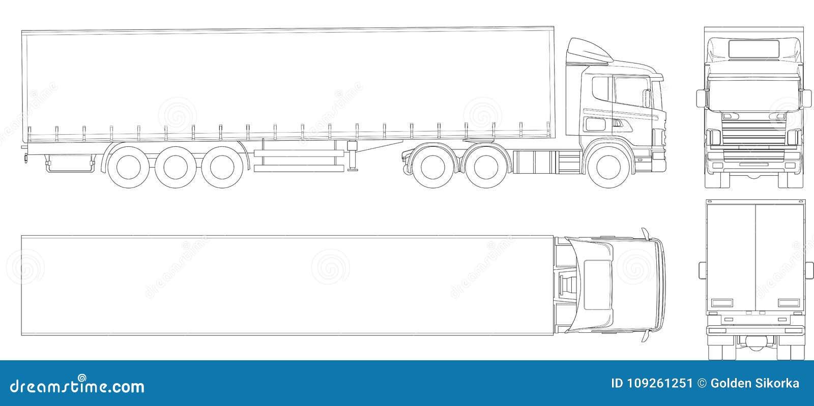 Översikt för vektorlastbilsläp Kommersiellt medel Last som levererar medlet Sikt från sidan, framdel, baksida, överkant
