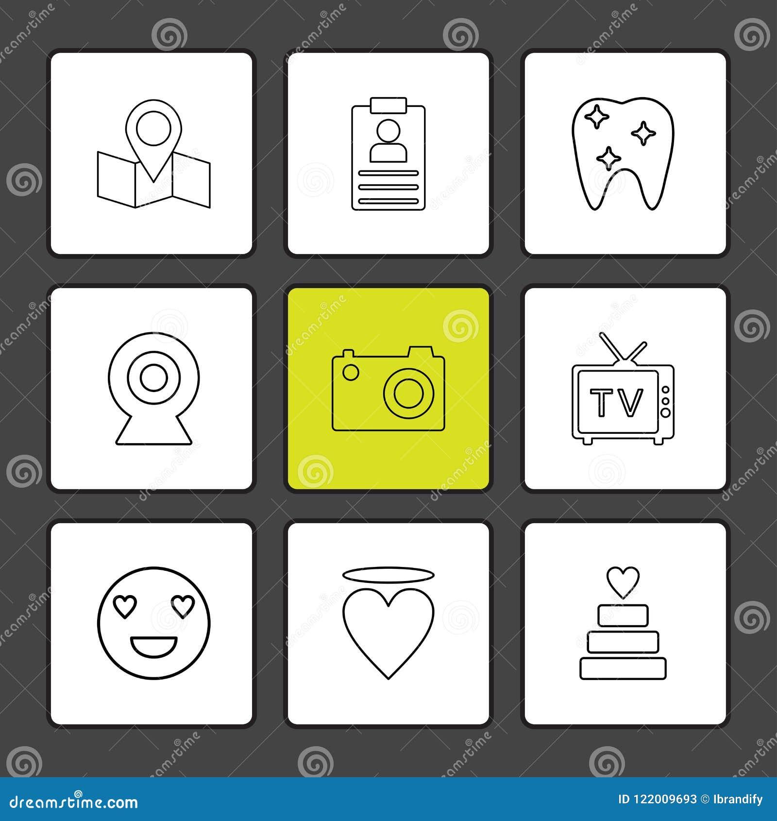 översikt navigering, tänder, kamera, tv, hjärta, emoji, kaka,