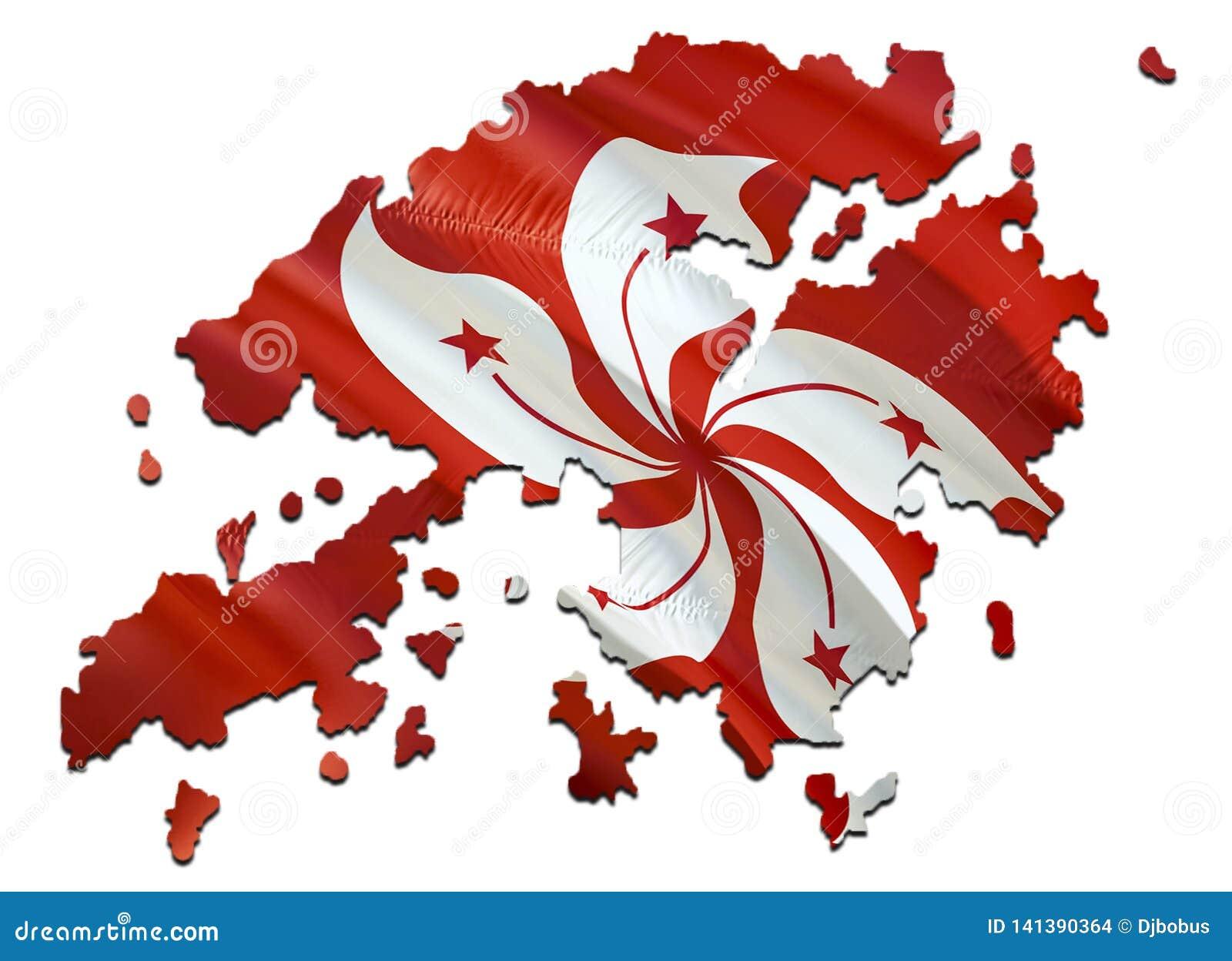 Översikt på Hong Kong den vinkande flaggan 3D som framför den Hong Kong översikten och vinkar flaggan på den Asien översikten Det