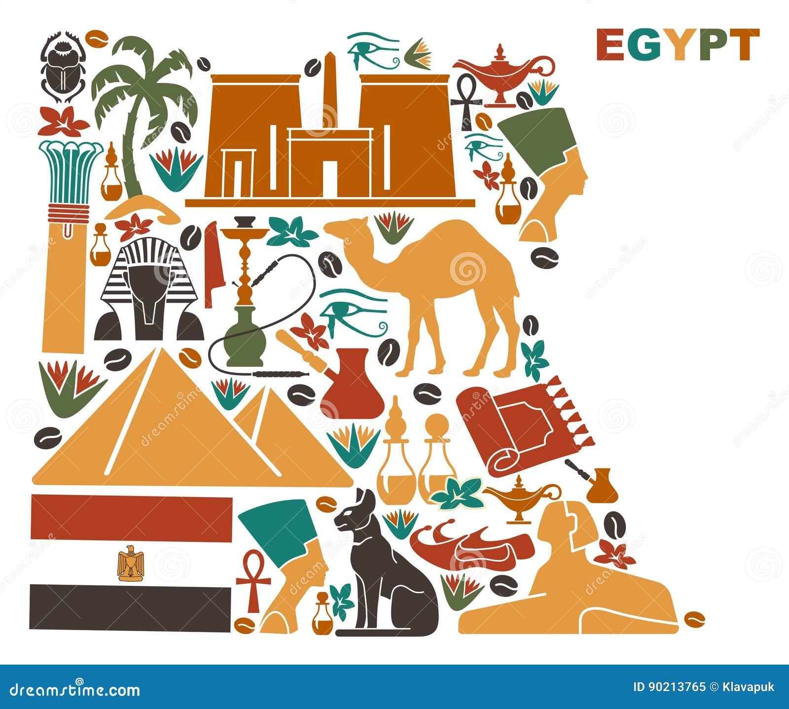 Översikten av Egypten gjorde av nationella symboler