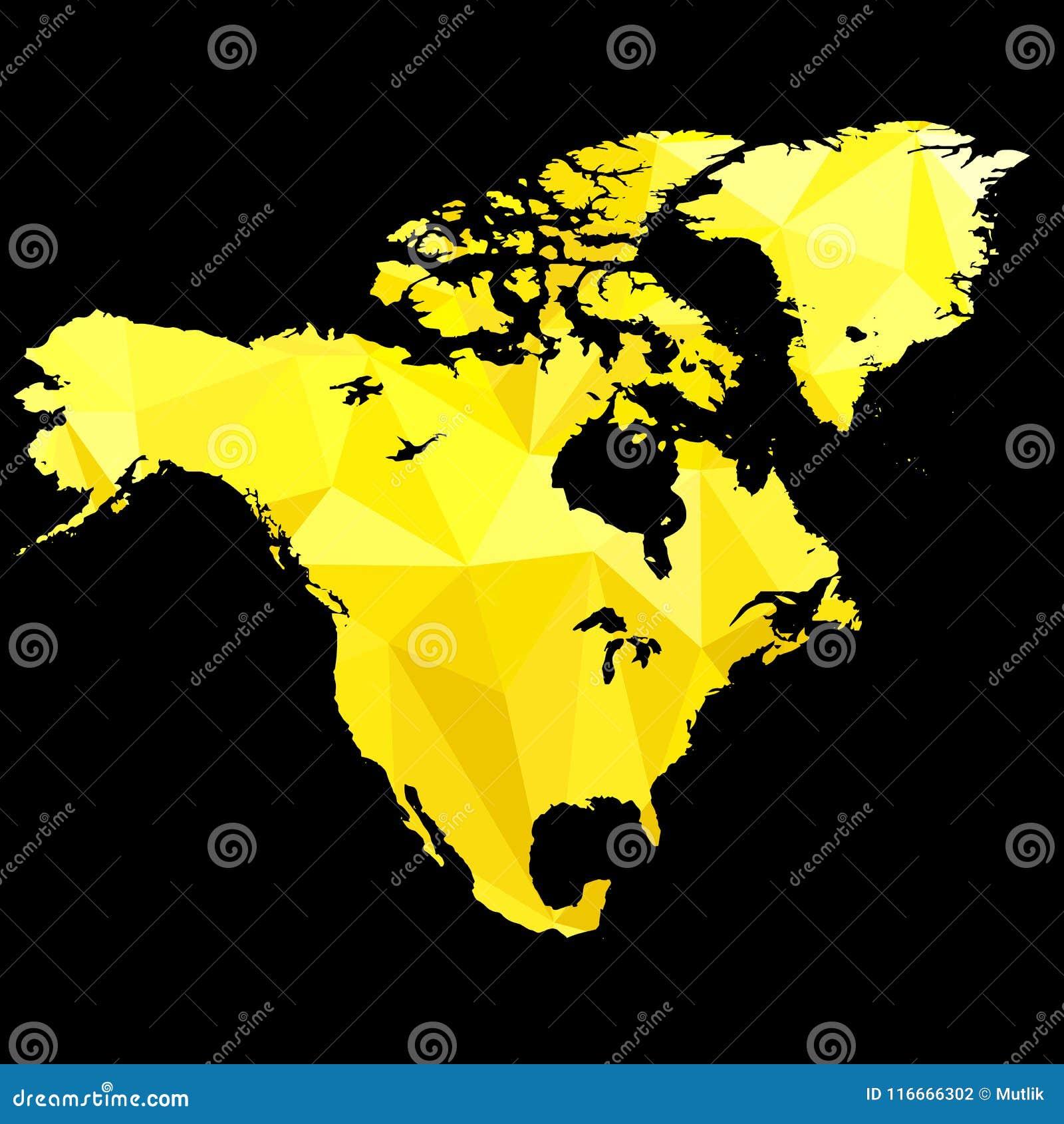 Översikten av Nordamerika gjorde av guld- färg