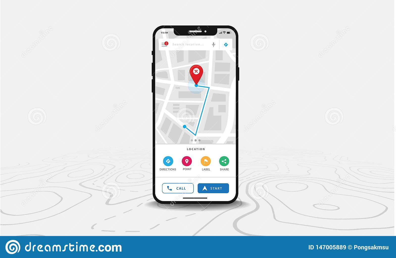 ÖversiktsGPS navigering, Smartphone översiktsapplikation och röd knappnålsspets på skärmen, navigering för Appsökandeöversikt, på
