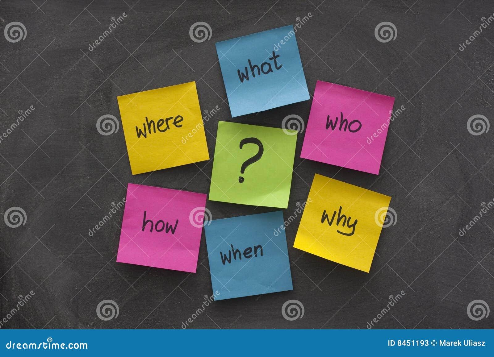 översiktsmeningsanmärkningen questions klibbigt