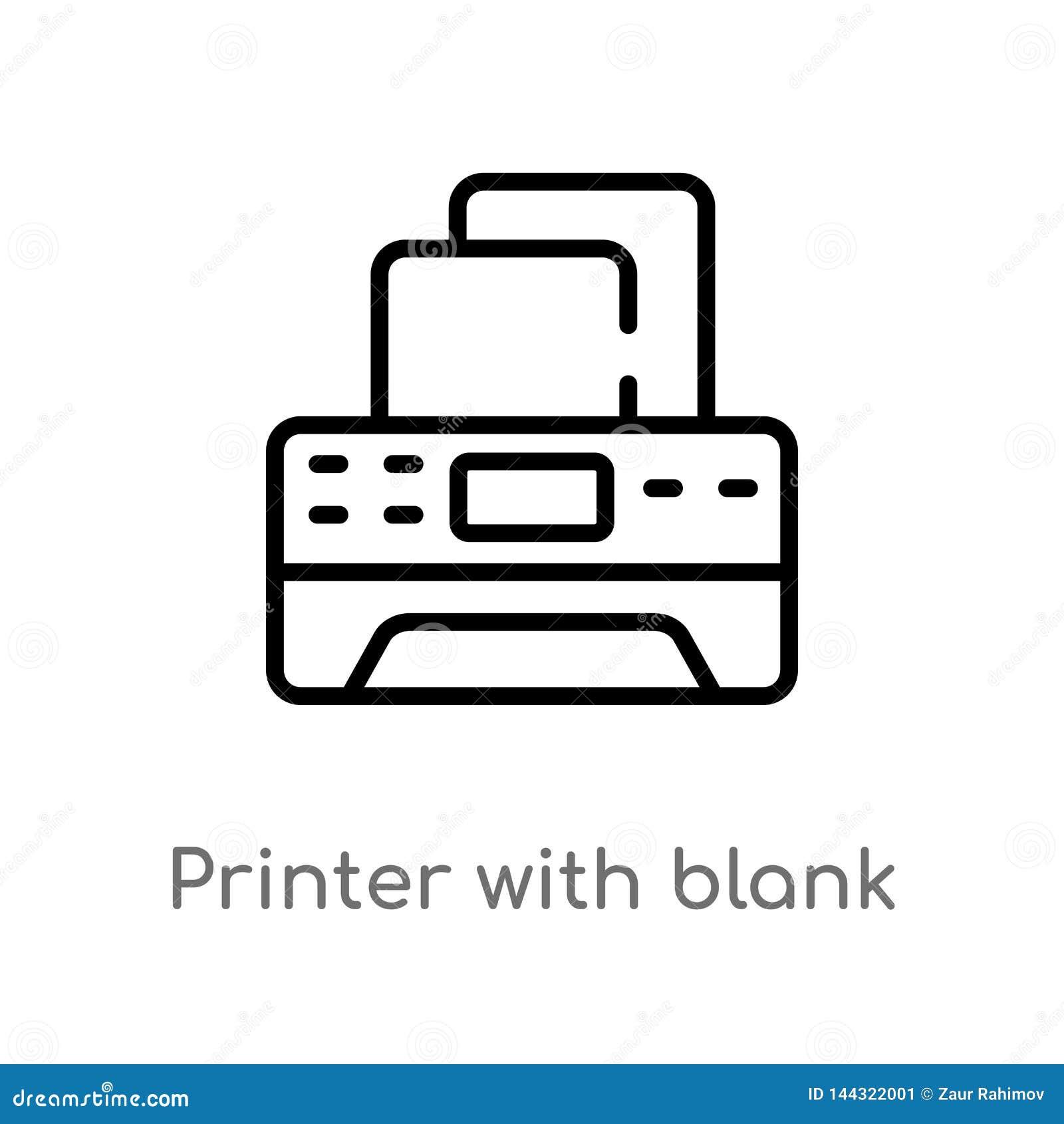översiktsskrivare med den tomma pappers- arkvektorsymbolen isolerad svart enkel linje beståndsdelillustration från hjälpmedel och