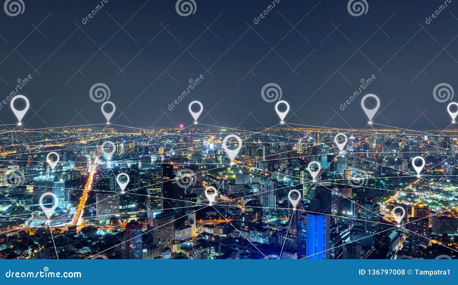 Översiktsstiftlägenhet av staden, linjer för nätverksanslutning i det Bangkok centret, Thailand Finansiell områdes- och affärsmit