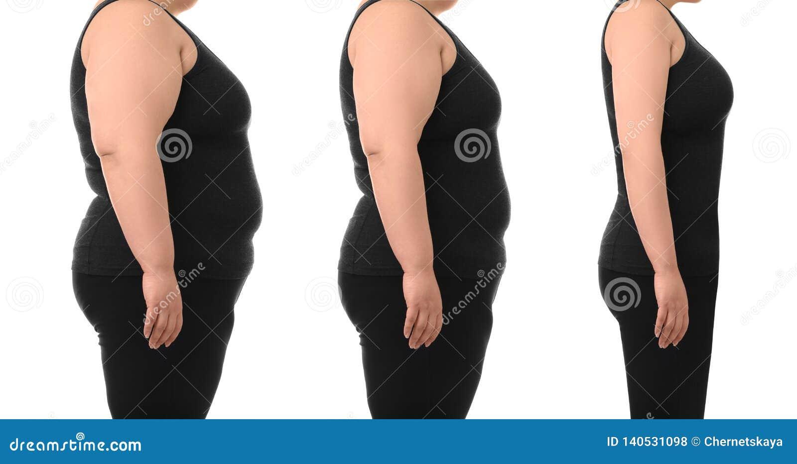 Överviktig viktförlust för kvinna före och efter på vit bakgrund