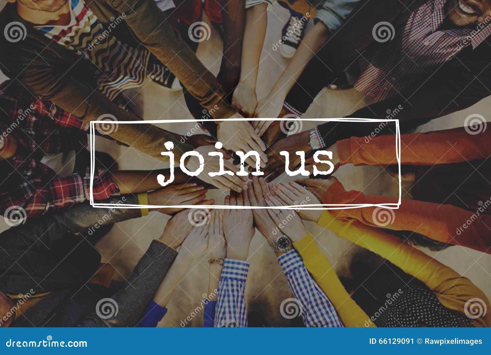 Únase a nos concepto de Team Recruitment Register Membership Hiring