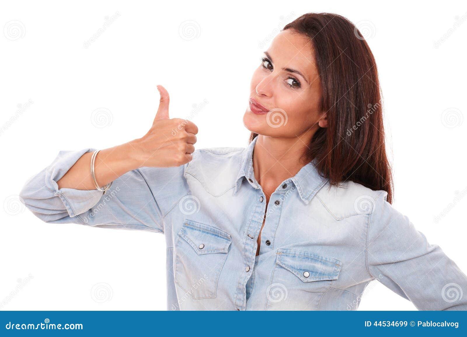 Única mulher latin com bom gesto do trabalho