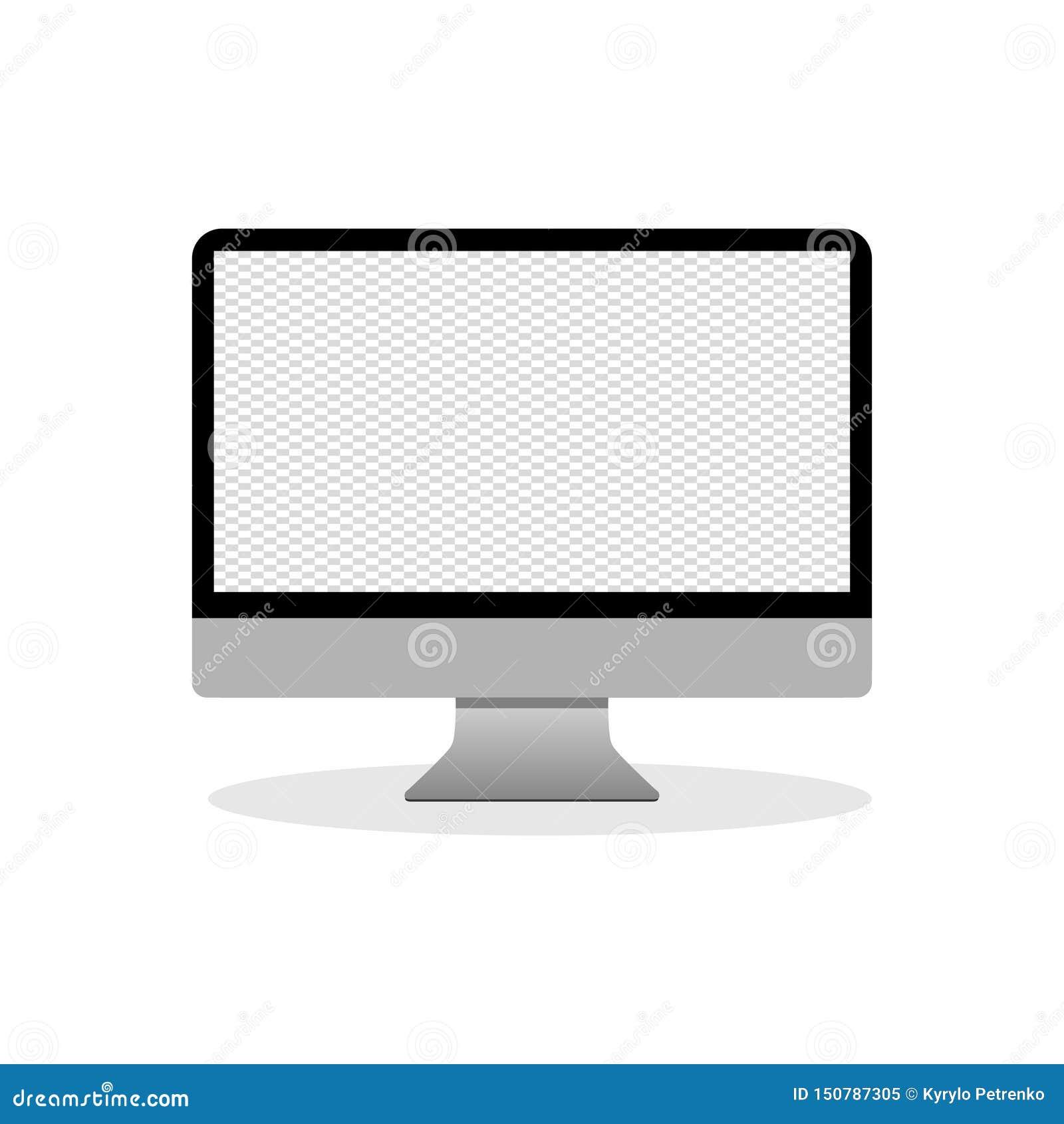 Único computador de secretária liso no fundo branco