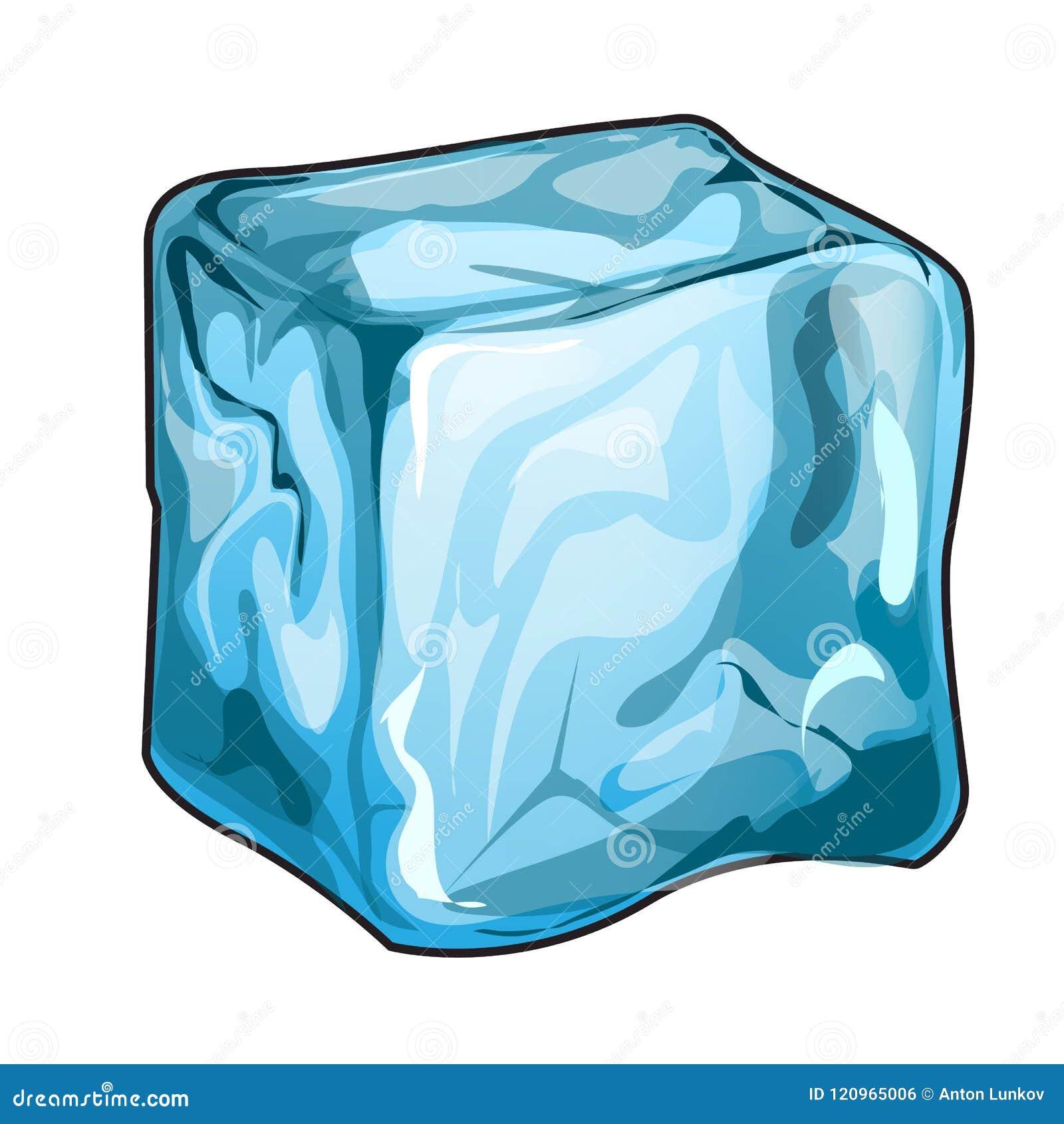 Unico Cubo De Gelo Isolado Em Um Fundo Branco Ilustracao Do Close