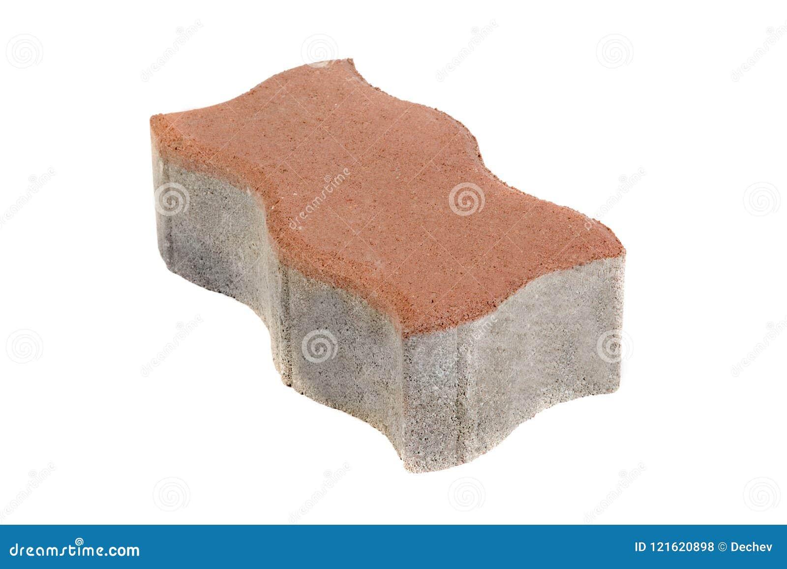 Único tijolo vermelho do pavimento, isolado Bloco de cimento para pavimentar