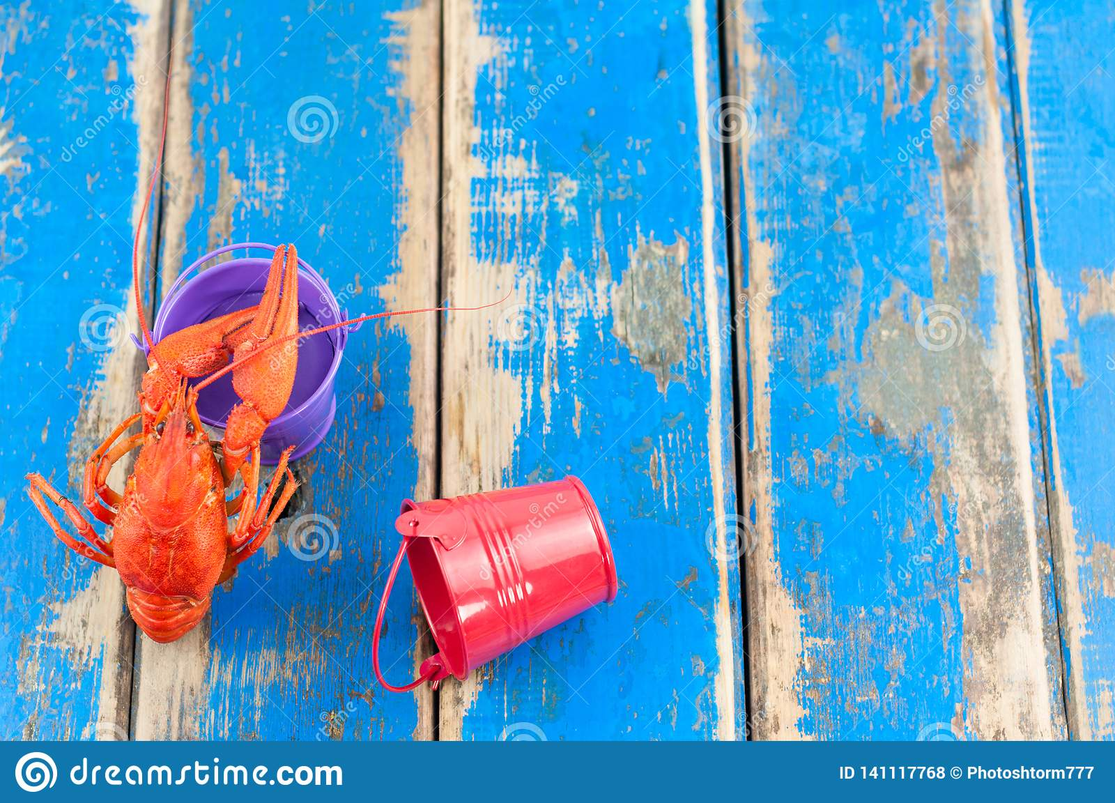 Únicos lagostins fervidos vermelhos inteiros perto da cubeta violeta vazia do metal ao lado da cubeta recostado vermelha