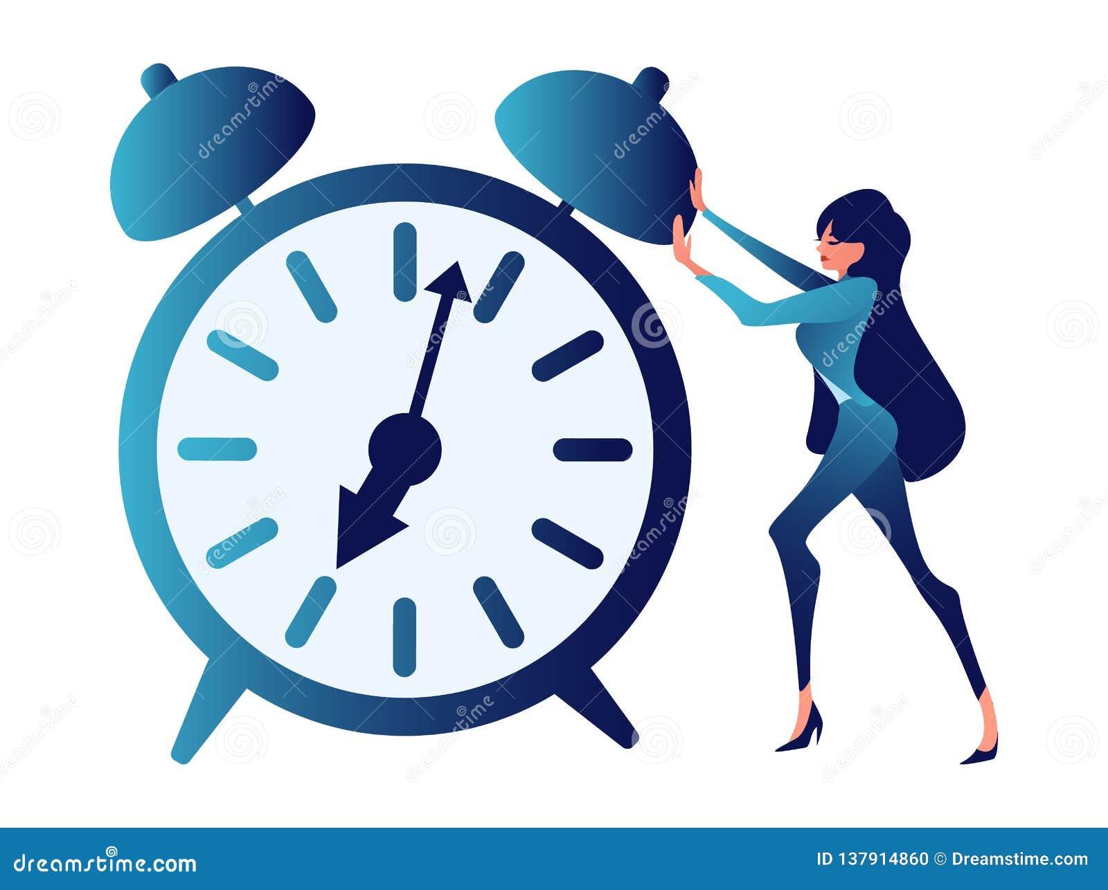 Über die Zeit hinaus vieldeutig, Zeitmanagement Abstrakter Begriff, ein Geschäftsmann drückt eine Uhr In der unbedeutenden Art
