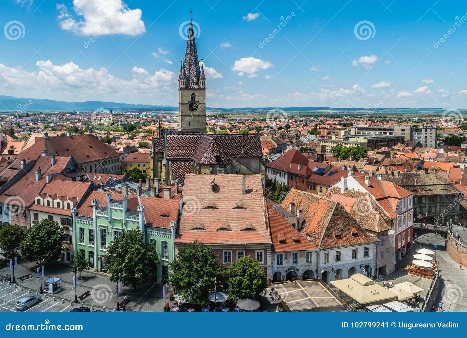 Überblick über Sibiu, Ansicht von oben, Siebenbürgen, Rumänien, Juli