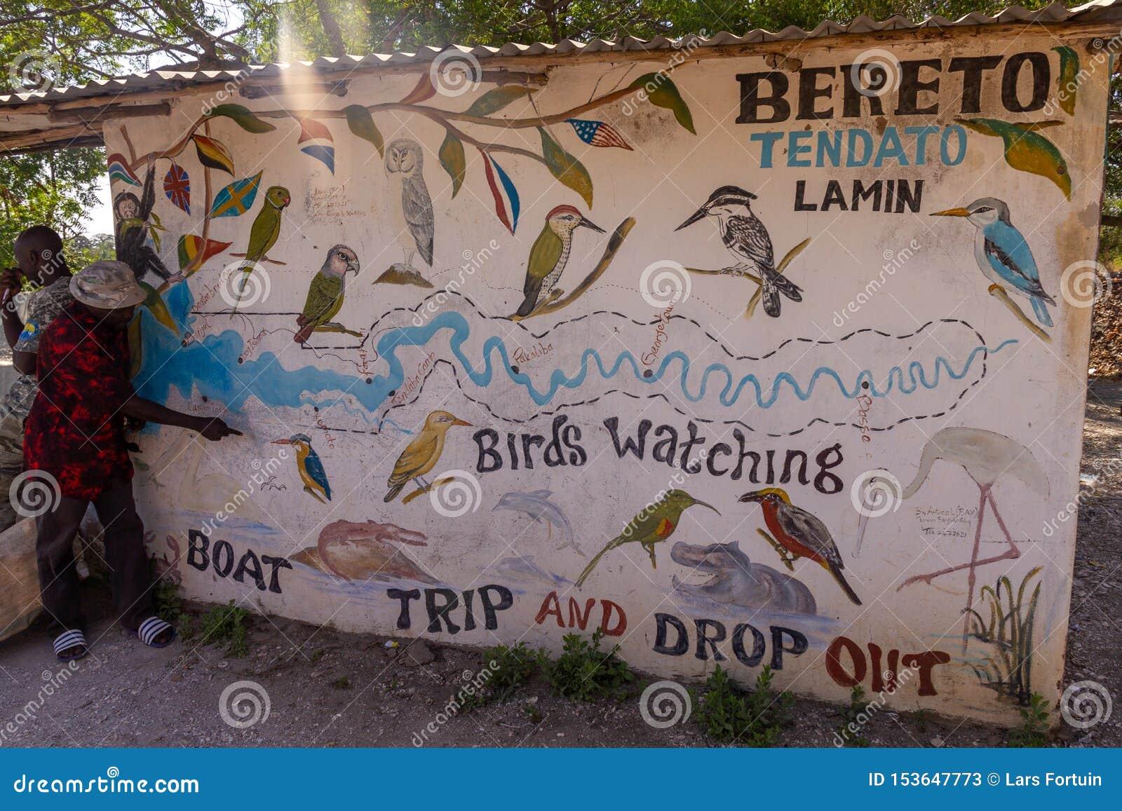 Überblick von den Vögeln in Gambia