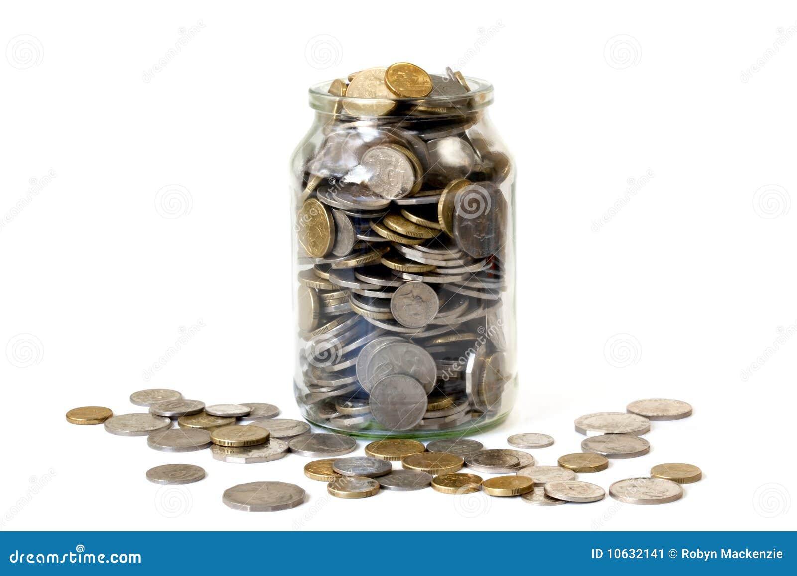 Überfließendes Glas Münzen