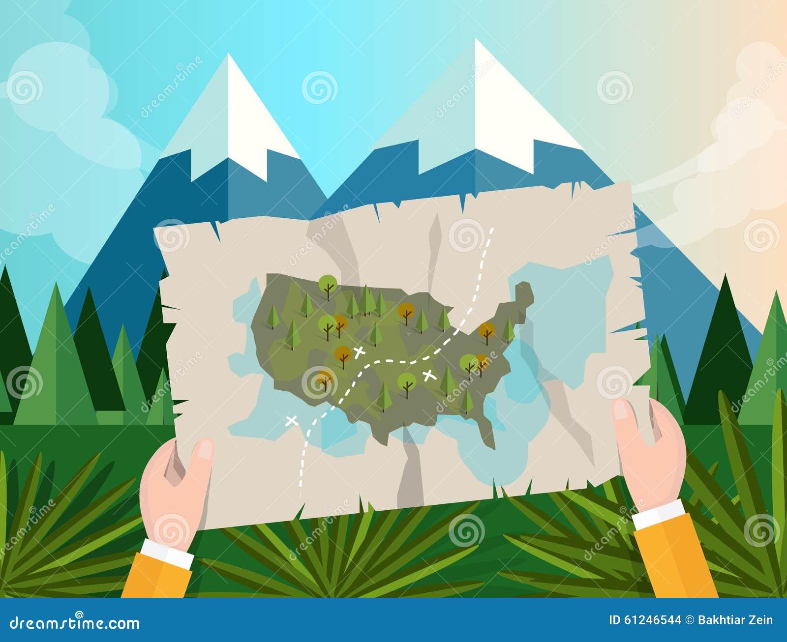 Übergeben Sie das Halten Spurhaltungsjagd Kartenamerikas im Waldgebirgsbaum-Vektorgraphik-Illustrationskarikatur-Dschungelsonnenu