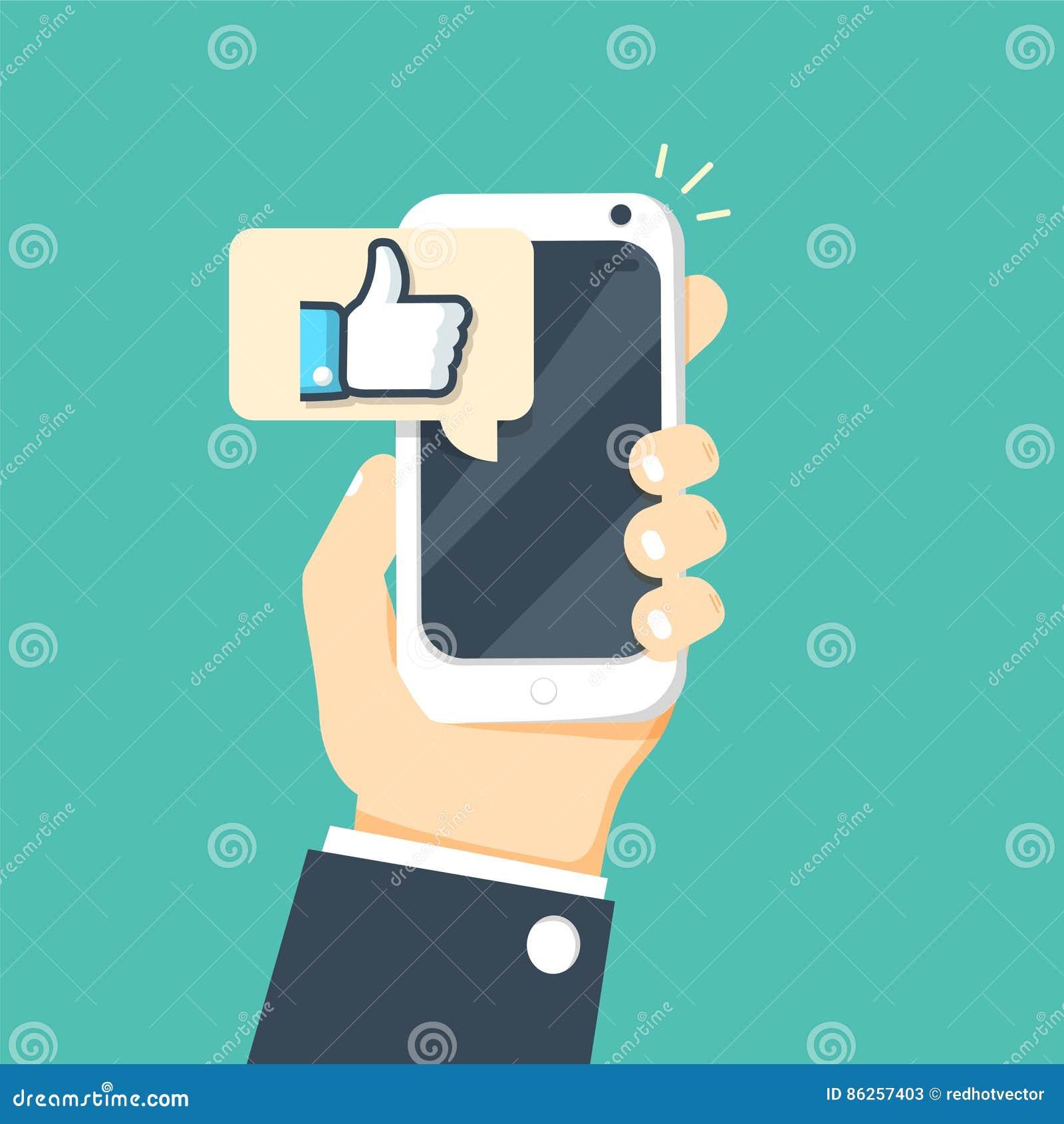 Übergeben Sie das Halten von Smartphone mit gleicher Mitteilung auf Schirm, wie Knopf Daumen Up Ikone