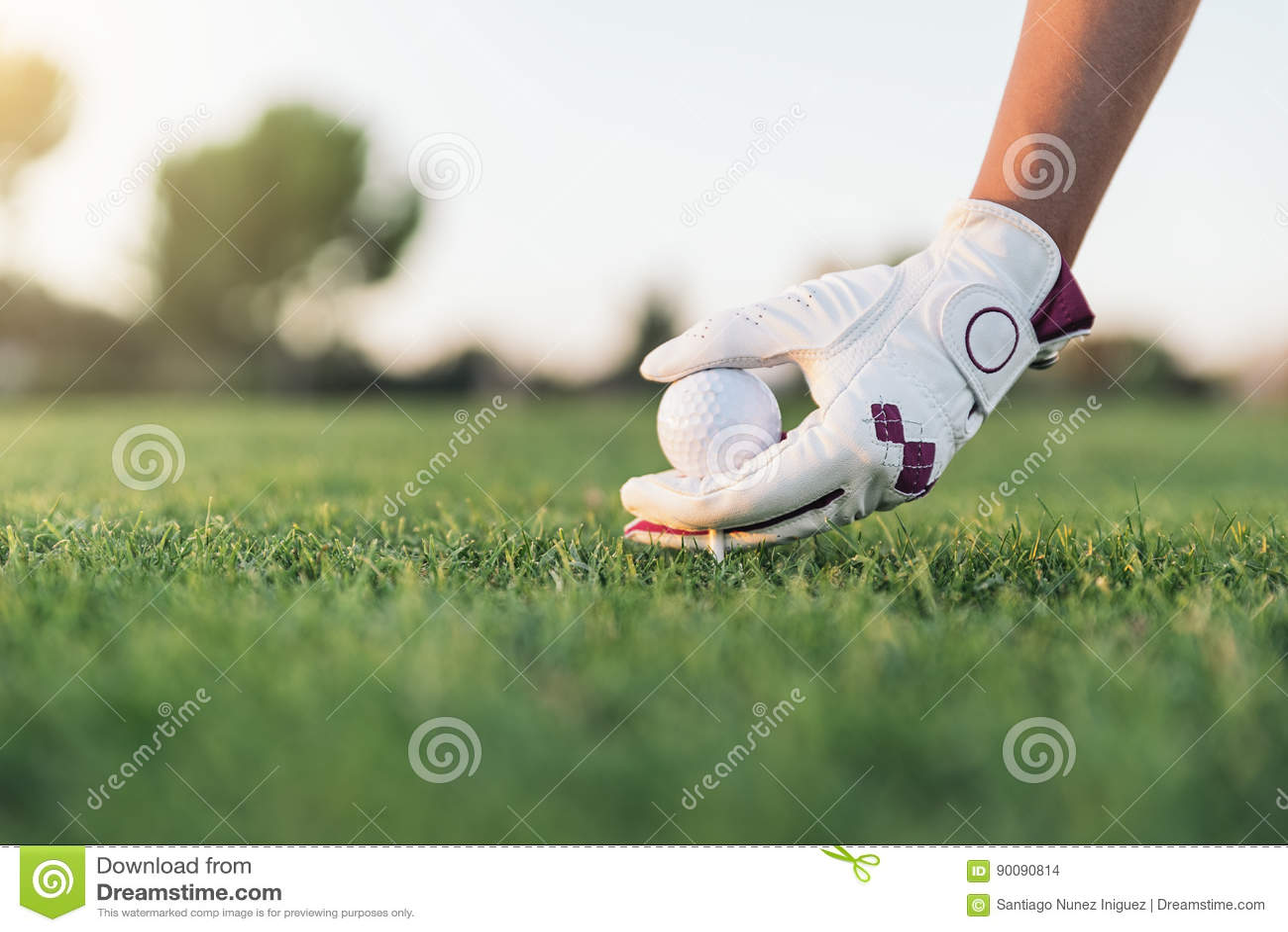 Übergeben Sie die Frau, die einen Golfball auf das T-Stück setzt
