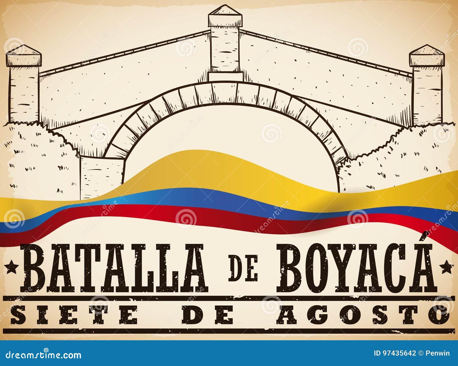 Übergeben Sie gezogene Boyaca-` s Brücke und kolumbianische Flagge für Boyaca-` s Kampf, Vektor-Illustration