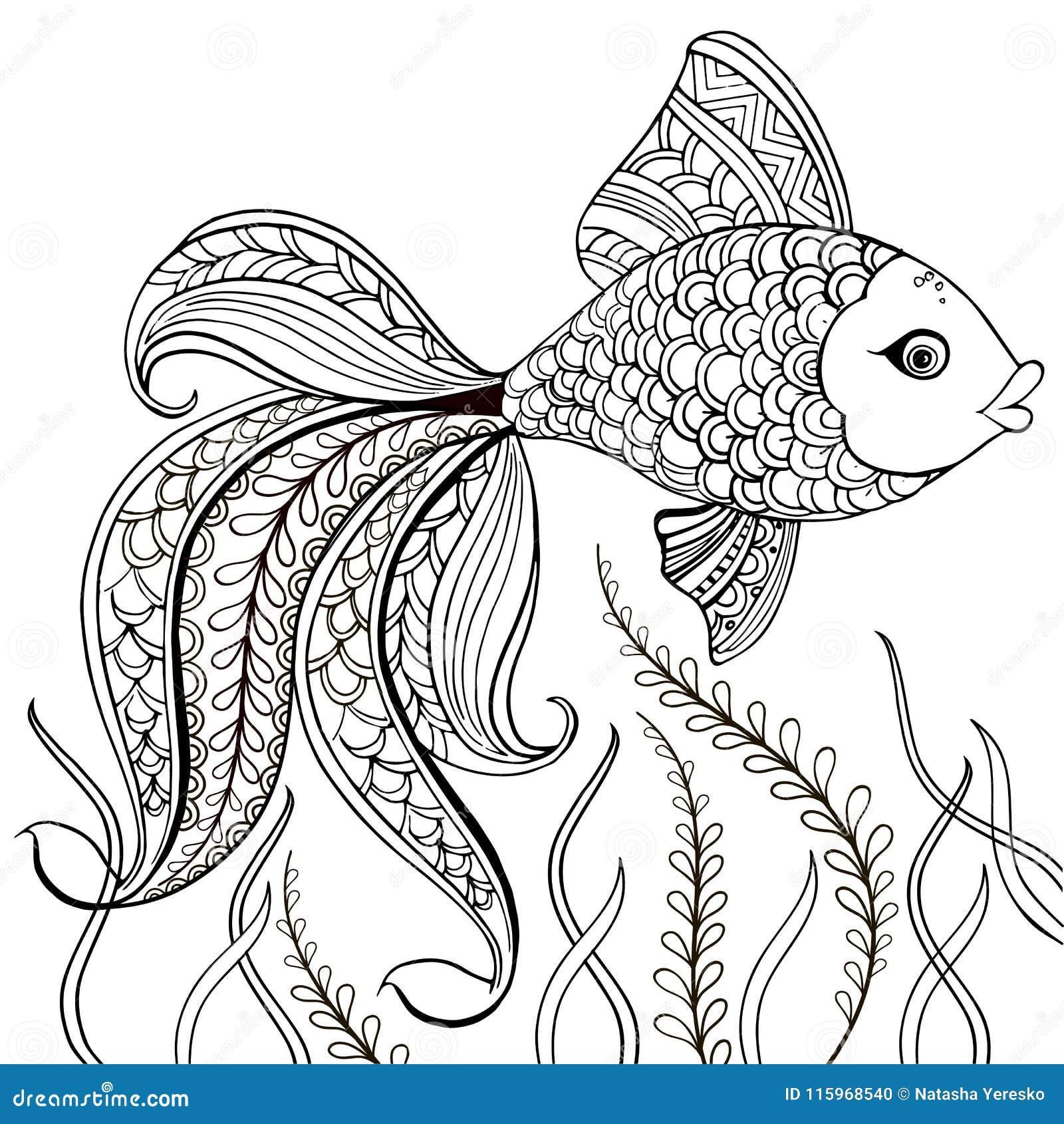 Übergeben Sie gezogene dekorative Fische für für die Antidruckfarbtonseite Übergeben Sie die gezogenen schwarzen dekorativen Fisc