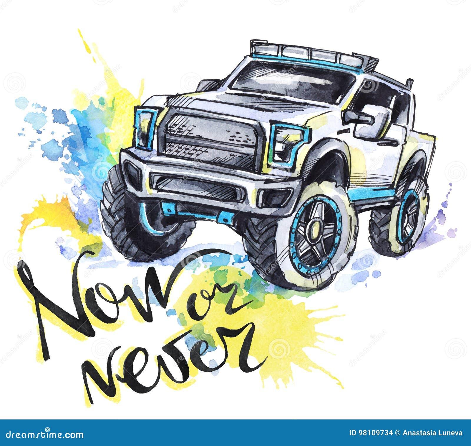 Übergeben Sie gezogene Karte mit großem Auto und Beschriftung Wörter jetzt oder nie Aquarellmehrfarbenillustration Aktiver verrüc