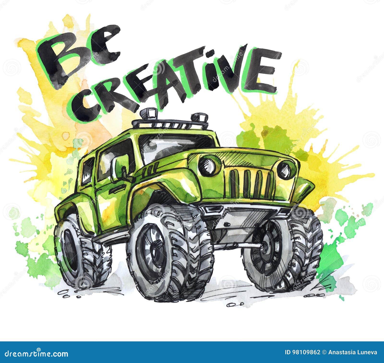 Übergeben Sie gezogene Karte mit großem Auto und Beschriftung Wörter sind kreativ Aquarellmehrfarbenillustration Aktiver verrückt