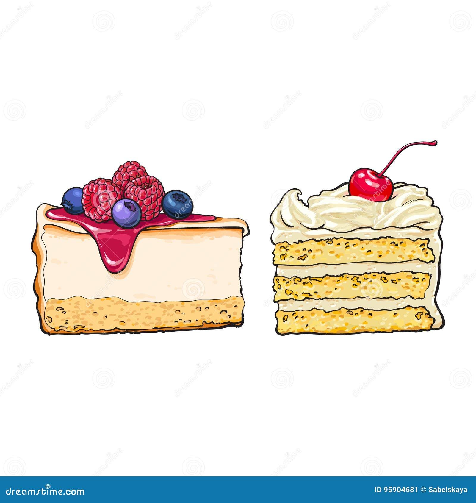 Übergeben Sie gezogene Nachtische - Stücke des Käsekuchens und des überlagerten Vanillekuchens
