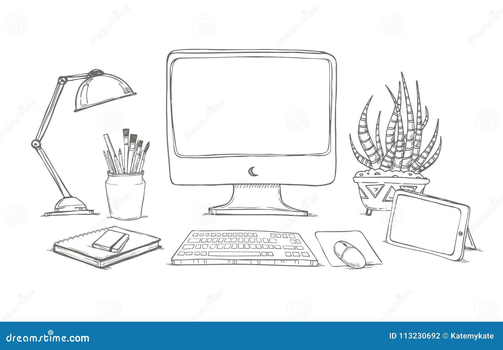 Ubergeben Sie Gezogene Vektorillustration Konzept Der Kreativen