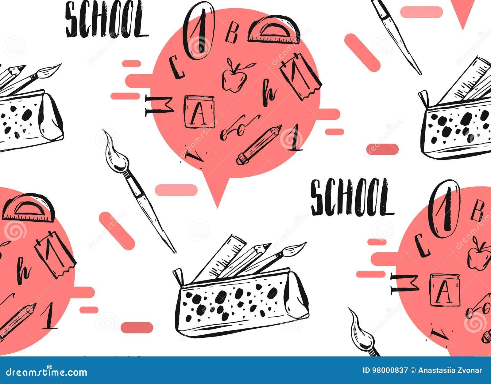 Übergeben Sie gezogene Vektorzusammenfassung zurück zu Schulnahtlosem Muster