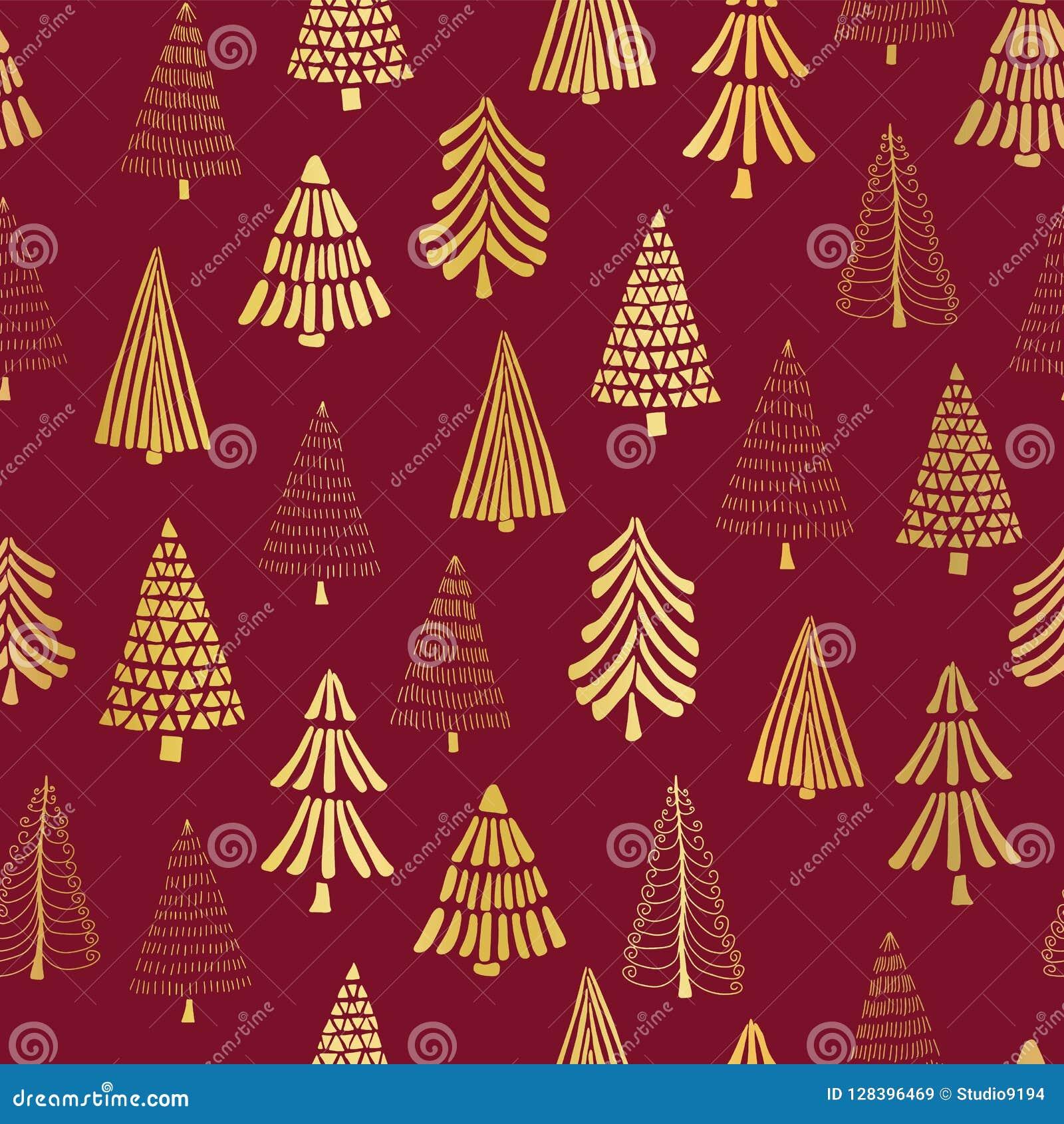 Übergeben Sie gezogene Weihnachtsbaum-Goldfolie auf rotem nahtlosem Vektormusterhintergrund Metallische glänzende goldene Bäume E