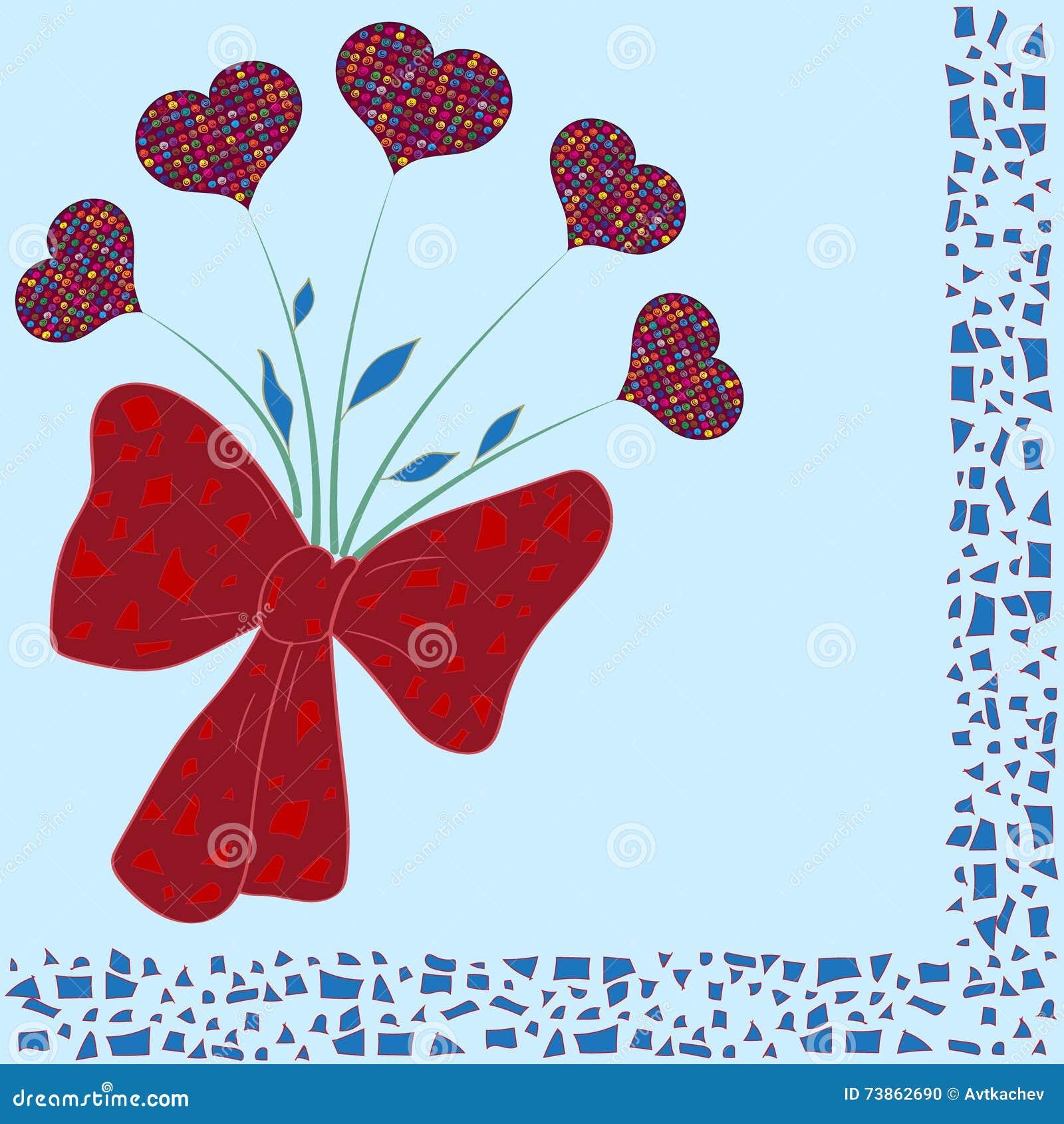Übergeben Sie gezogenen Blumenstrauß von bunten Herzen mit dekorativen Mosaikelementen