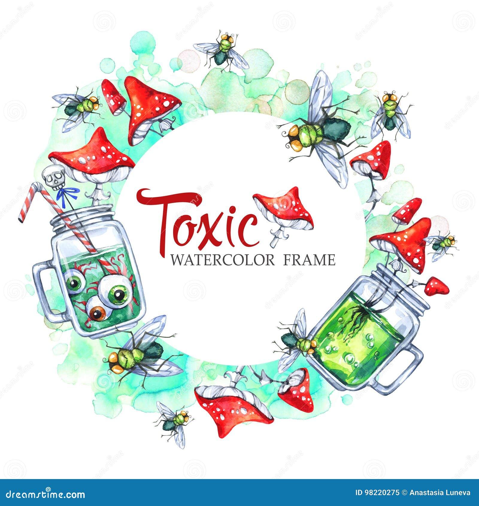 Übergeben Sie gezogenen runden Rahmen mit Aquarellglasschalen mit Trank, Wulstlingen und Fliegen Halloween-Feiertagsillustration