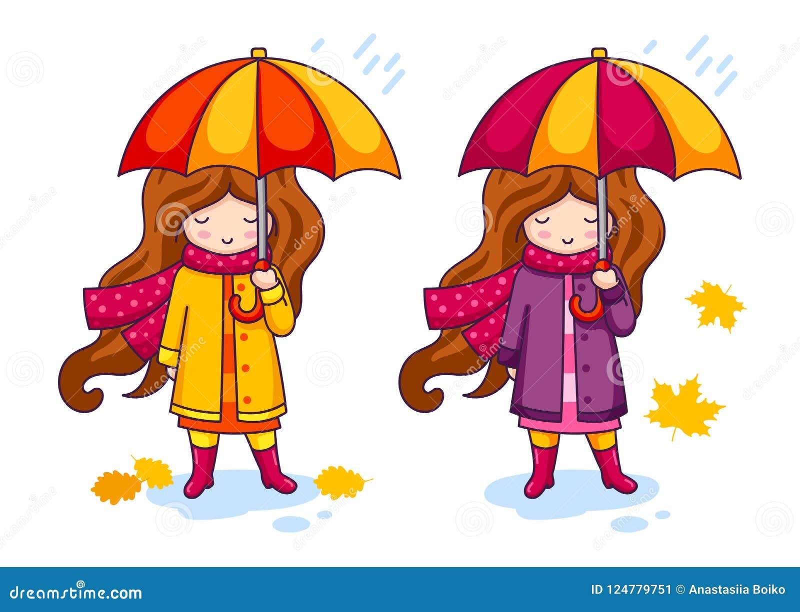 Übergeben Sie gezogenes kleines Mädchen mit buntem Regenschirm und einem großen gestrickten Schal