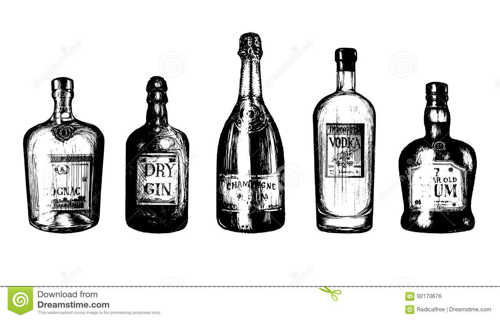Übergeben Sie Skizzierte Flaschen Alkoholische Getränke Rum, Gin ...
