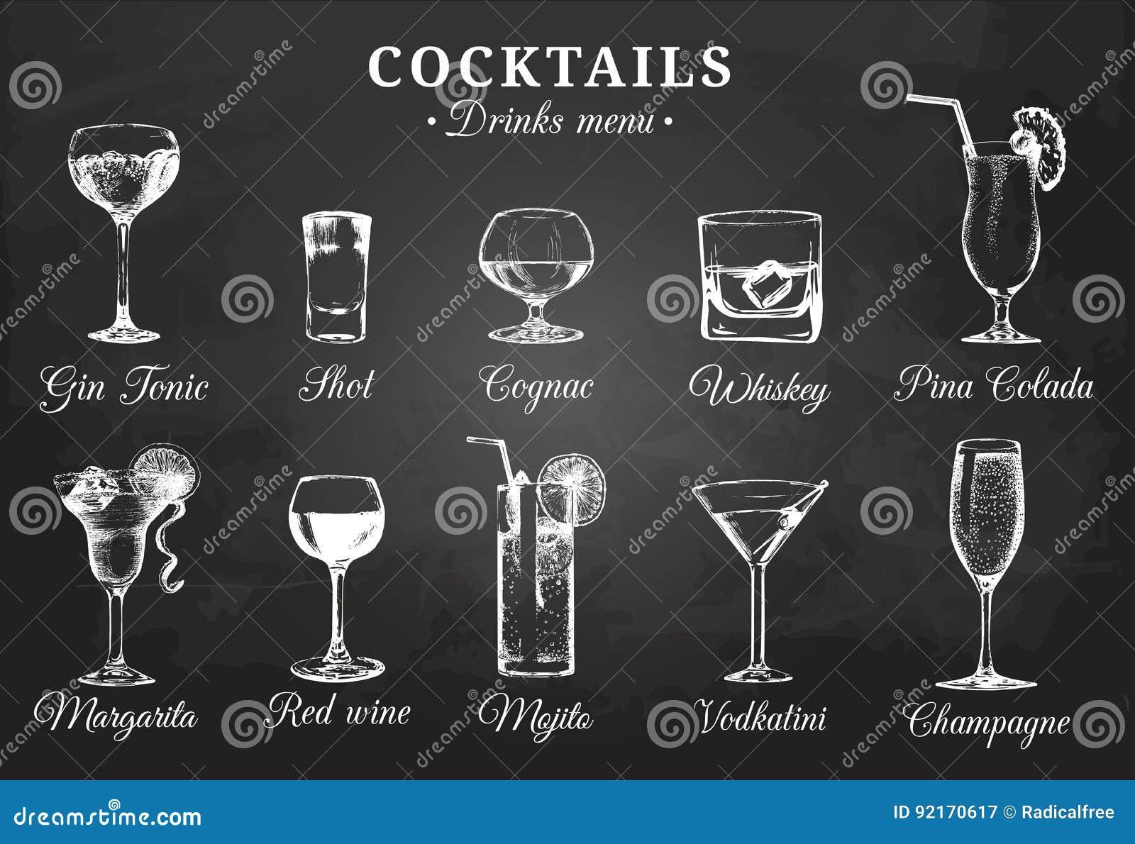Übergeben Sie Skizzierte Flaschen Und Gläser Alkoholische Getränke ...