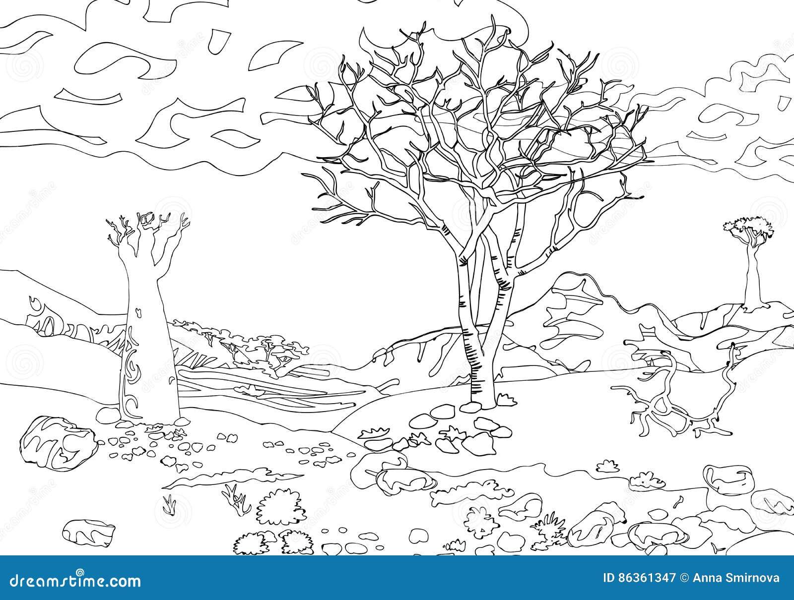 Übergeben Sie Zeichnende Dekorative Landschaftsbäume Und Steine ...