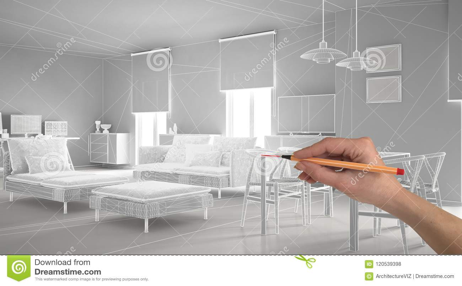 Übergeben Sie zeichnender abstrakter Architektur Innenprojektplanung, modernes Wohnzimmer, wireframe highpoly Maschenbau, weißes