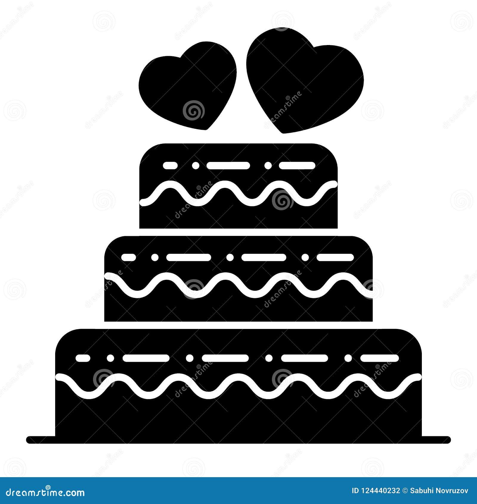 Überlagerte Hochzeitstortekörperikone Hochzeitstortevektorillustration lokalisiert auf Weiß Abgestuftes Kuchen Glyph-Artdesign