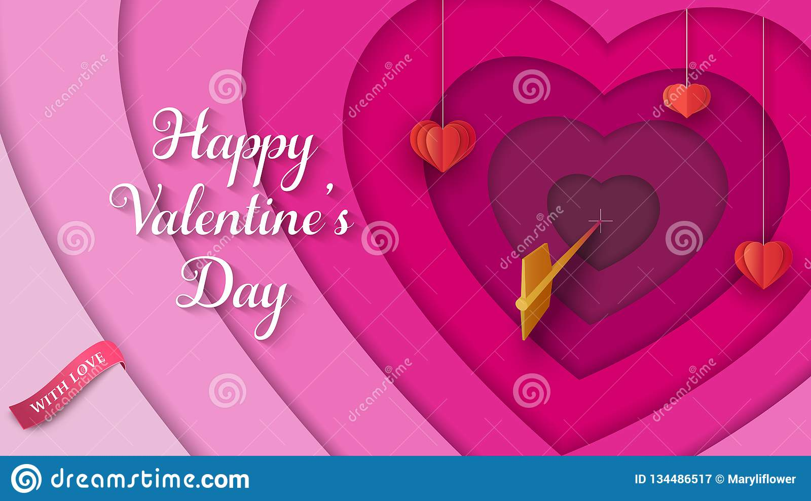 Überlagerter 3D bunter Hintergrund mit hängenden roten Papierherzen, goldener Pfeil, rosa Band Valentinsgruß ` s Tageshintergrund