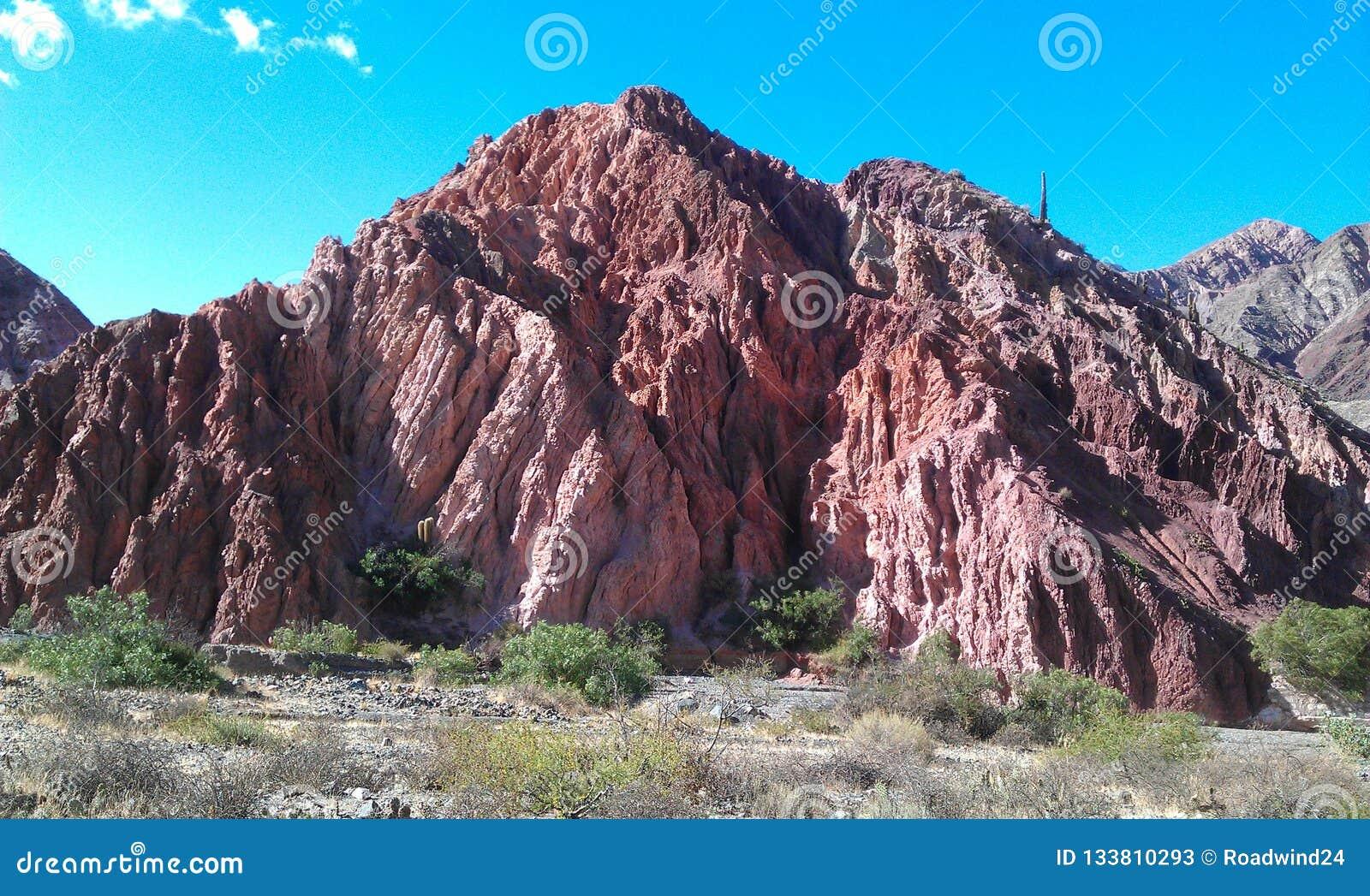 Überraschende rötliche Felsformation mit Kaktus