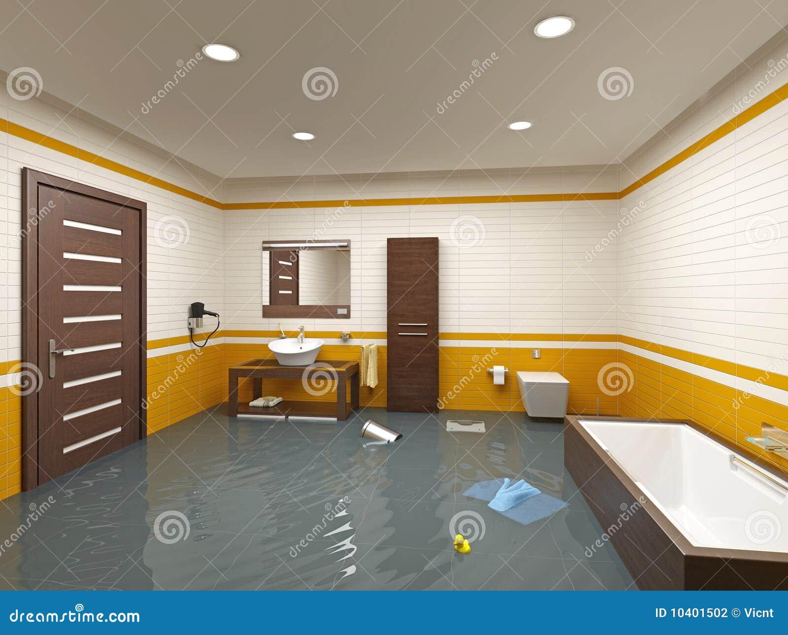 Überschwemmungbadezimmer stockfotografie - bild: 10401502, Badezimmer ideen