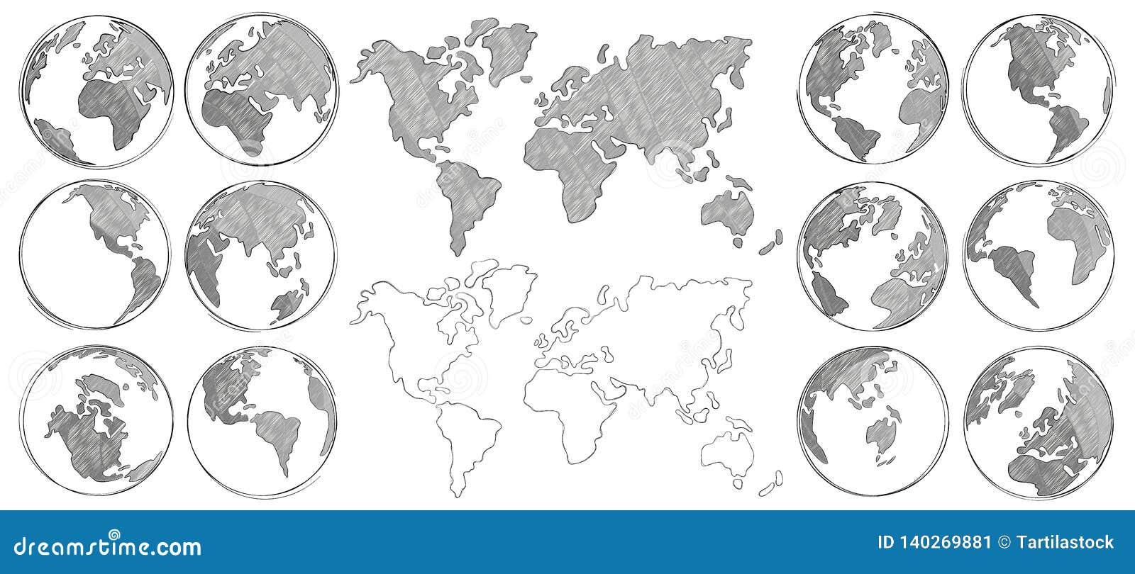 Übersichtskarte Handgezogene Erdkugel, zeichnende Weltkarten und lokalisierte Vektorillustration der Kugeln Skizzen