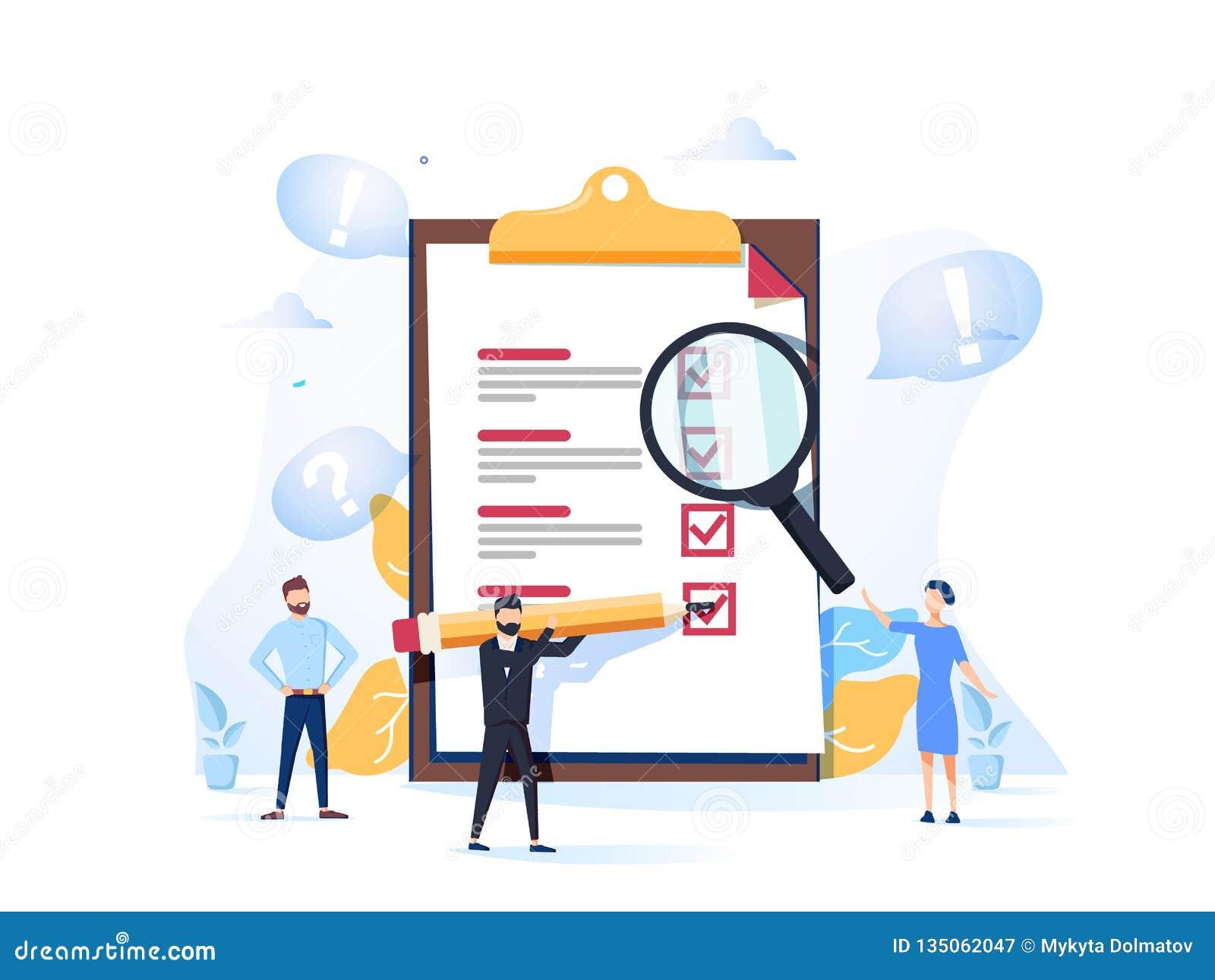 Übersichtsvektorillustration Flaches Minipersonenkonzept mit Qualitätsprüfung und Zufriedenheits-Bericht Feedback von den Kunden