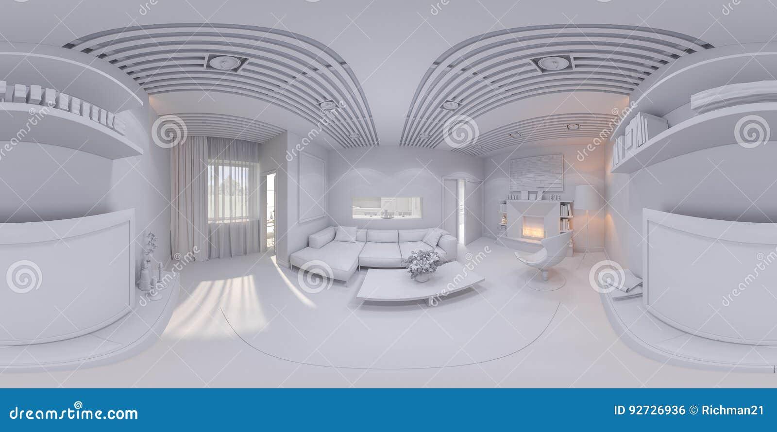 360 übertragen Innenarchitekturwohnzimmer Des Panoramas Stock ...